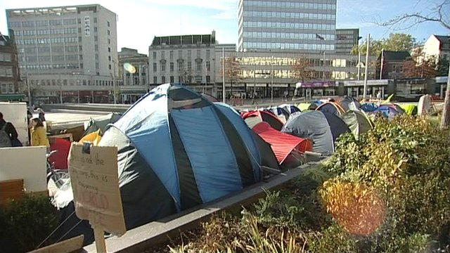 Nottingham's 'Occupy' protest camp in Old Market Square