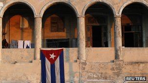 Cuban flag on a building in Havana