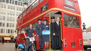 RAF personnel on a Route master bus
