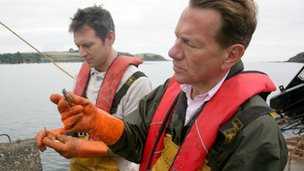 Michael Portillo with Duchy of Cornwall oysters