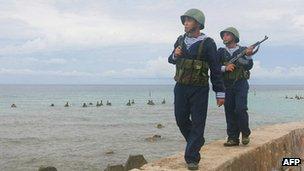 Vietnamese sailors patrolling on Phan Vinh Island in the Spratly archipelago June 14, 2011