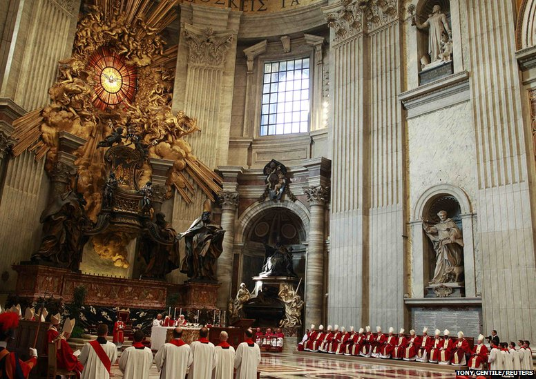 Pope Benedict XVI attends a mass