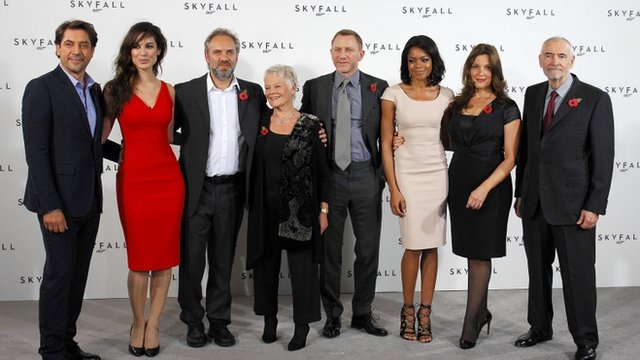 Javier Bardem, Berenice Marlohe, Sam Mendes, Dame Judi Dench,Daniel Craig, Naomie Harris, Barbara Broccoli and Michael G Wilson