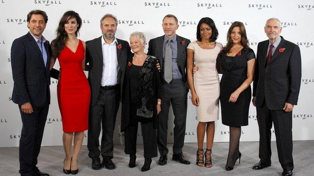 Javier Bardem, Berenice Marlohe, Sam Mendes, Dame Judi Dench,Daniel Craig, Naomie Harris, Barbara Broccoli and Michael G Wilson