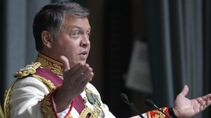 King Abdullah of Jordan addressing parliament - October 2011