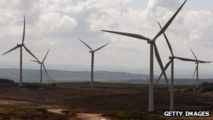 Pic of turbines at Whitelee wind farm, Eaglesham