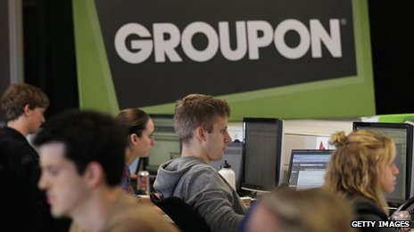 Groupon employees at the company's headquarters