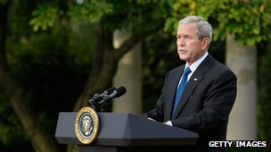 former President W Bush giving a speech at the White House while still in office 14 October 2008