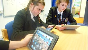 Students using their new iPads