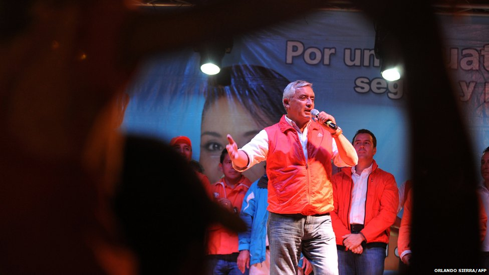 Guatemalan presidential candidate for the Patriotic party, Otto Perez Molina, speaks to supporters in Guatemala City, 3 November 2011