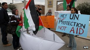 Palestinians in Ramallah demonstrate outside UN offices in support of flotilla and lifting of the blockade