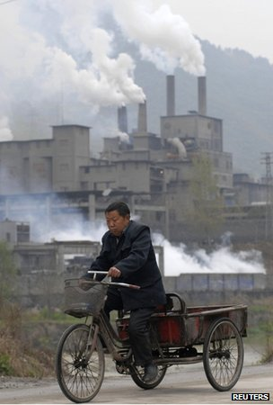 Cycle cart and cement factory, China
