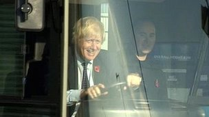 Boris Johnson driving bus