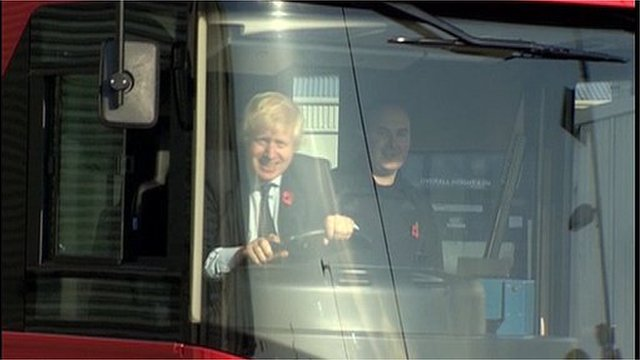 London Mayor Boris Johnson behind the wheel of the new bus