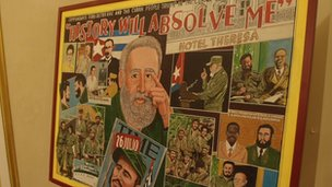 "A mural of Fidel Castro images with the label ""History will absolve me"""
