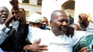 Leading Nigerian comic actor Babatunde Omidina, known by the stage name as Baba Suwe, after being freed on bail - 4 November 2011