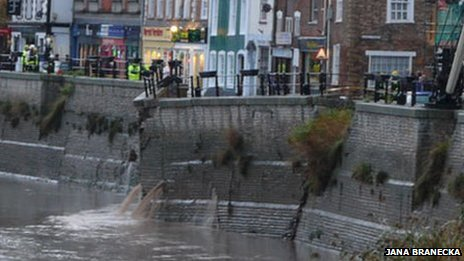 The damaged river wall at East Quay in Bridgwater, close to the River Parrett
