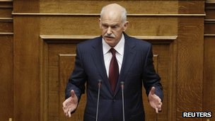 George Papandreou addresses lawmakers in Athens