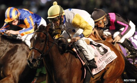 John Velazquez (centre) rides Perfect Shirl to victory