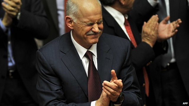 George Papandreou reacts to the result of the vote of confidence