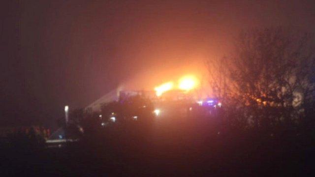 Flames on M5 motorway, seen from fields
