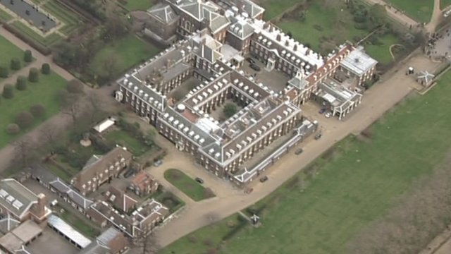Aerial view of Kensington Palace and its grounds