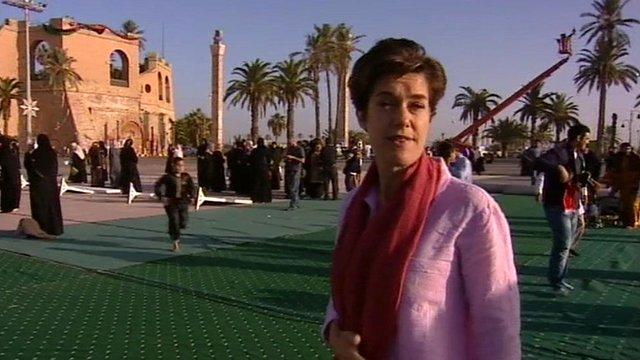 BBC Correspondent Karen Allen in Martyr's Square, Tripoli