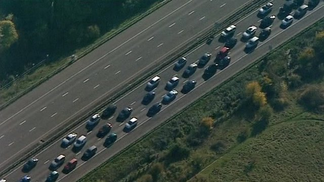 Aerial views of the tailbacks on the M5 following Friday night's devastating collision