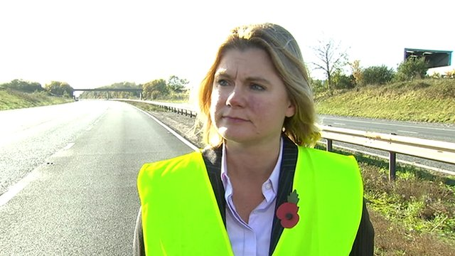 Transport Secretary Justine Greening at the scene of the fatal M5 collision