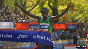 Geoffrey Mutai of Kenya wins the New York marathon