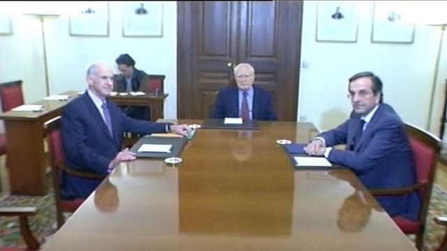 Greece's President, Prime Minister and leader of the opposition