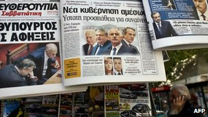 Newspapers headlines in Athens