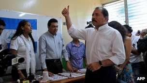 Daniel Ortega after voting