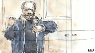 Courtroom sketch of Ilich Ramirez Sanchez on the first day of his trial in Paris on 7 November 2011