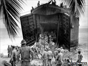 US troops land by boat on Marshall Islands