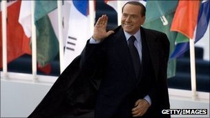 Italian Prime Minister Silvio Berlusconi arrives at the G20 summit in Cannes, 3 November