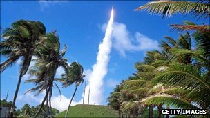 Missile being launched at Kwajelein atoll