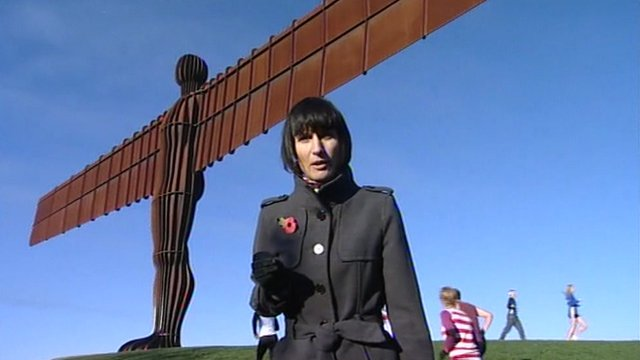 The BBC's Fiona Trott at the Angel of the North, Gateshead