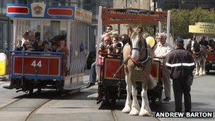 Horse Trams on Douglas promenade