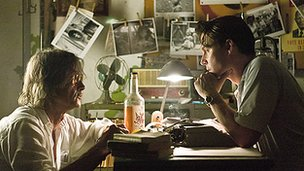 Bruce Robinson (left) and Johnny Depp on the set of The Rum Diary