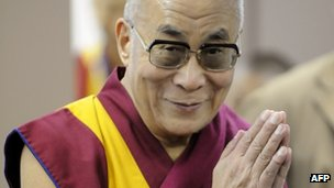 The Dalai Lama meets journalists at a press conference in Tokyo on 7 November 2011