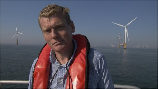 Tom Heap at an offshore windfarm