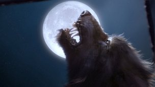 A werewolf and full moon