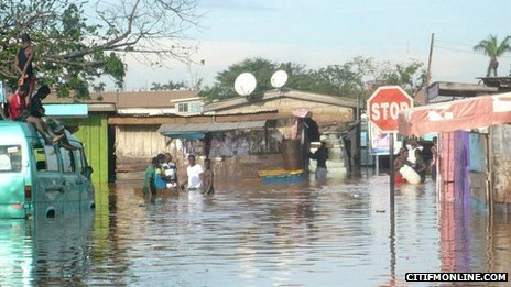 A flooded area of the capital, Accra, in October (Photo from Citi 97.3 FM)