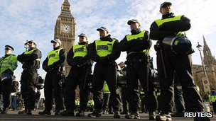 Metropolitan Police officers in Westminster at a tuition-fees protest in December 2010