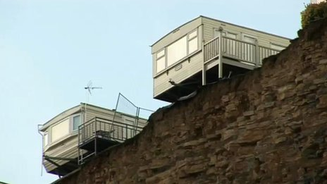 Caravans near the cliff edge at Porthkerry Leisure Park in the Vale of Glamorgan