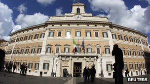 Montecitorio palace in Rome on 8 November 2011