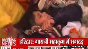 Injured woman in Haridwar, 8 November
