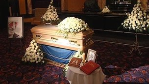 Jimmy Savile&#039;s gold-coloured coffin at Queens Hotel