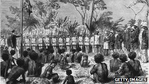 24th January 1885: British annexation of New Guinea, hoisting the Union Jack at Port Moresby